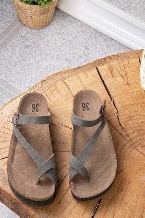 Fox Shoes Yeşil Süet Terlik B777753002 3