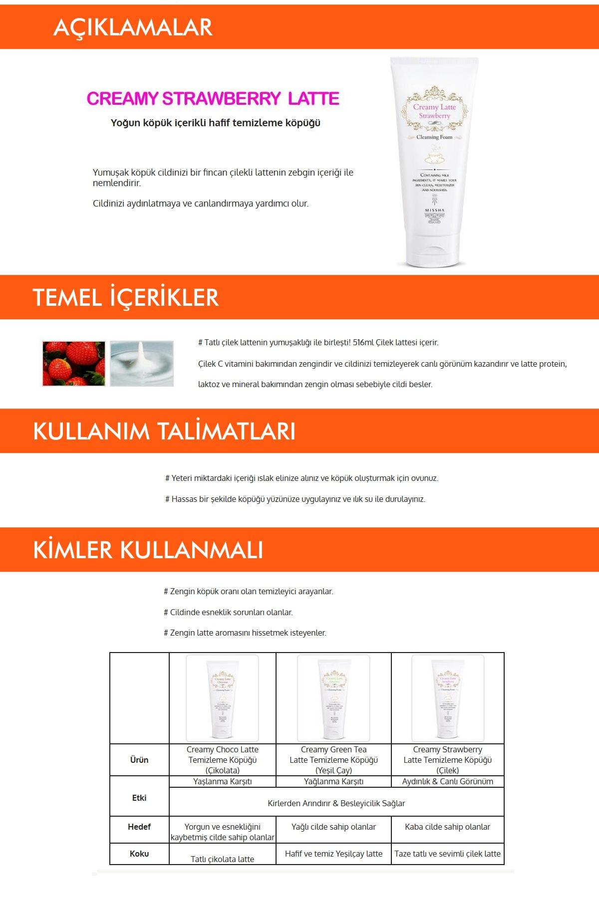 Missha Çilekli Canlandırıcı Temizleme Köpüğü 172ml Creamy Latte Cleansing Foam (Strawberry) 1