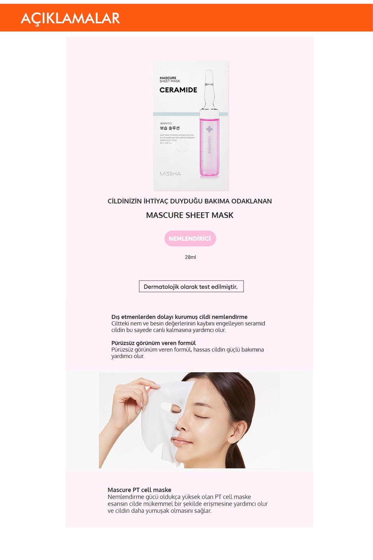 Missha Seramid Cilt Onarıcı Yaprak Maske (1ad) Mascure Moisture Barrier Solution Sheet Mask 1