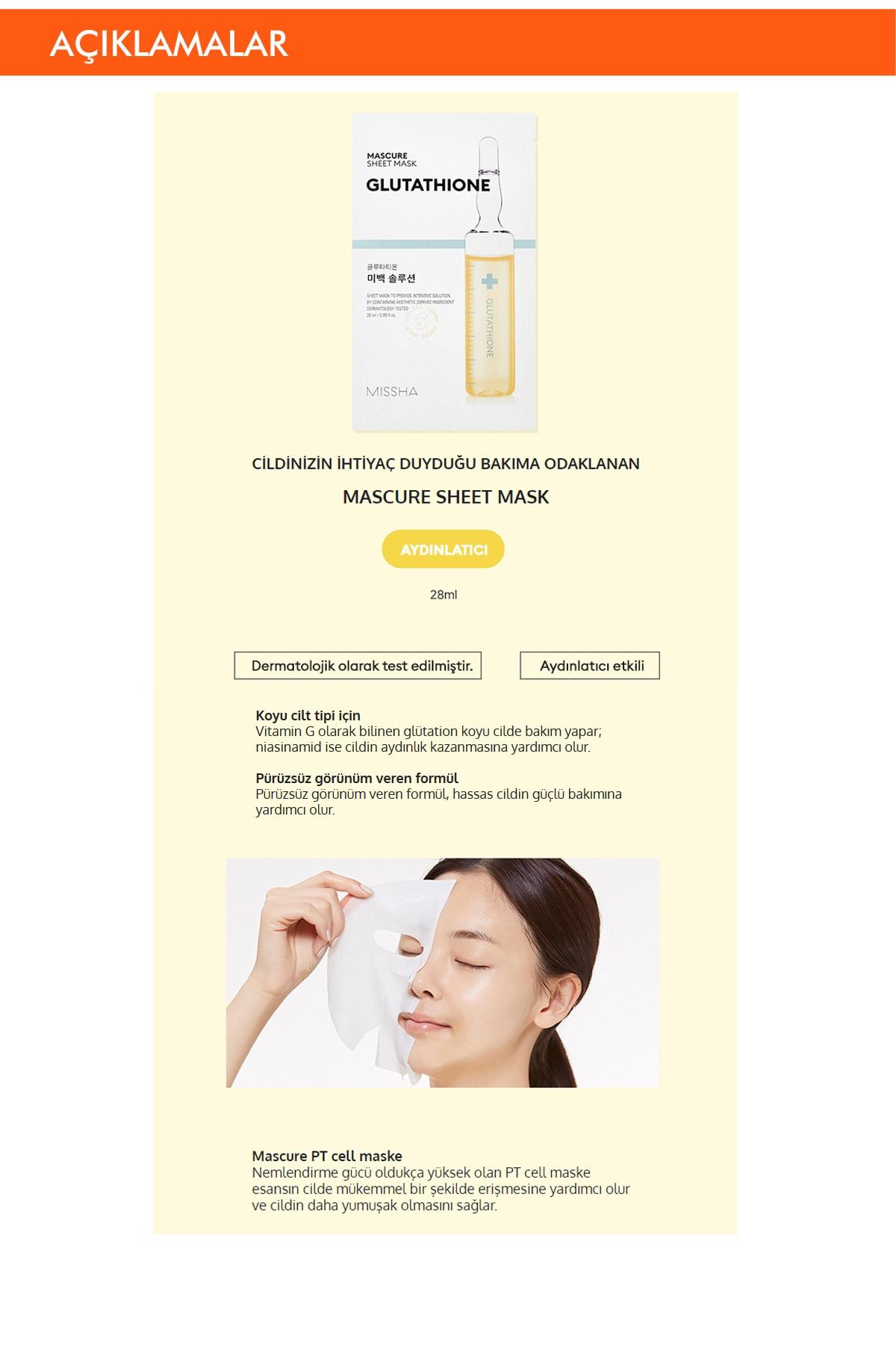 Missha Beyazlatıcı Glutathione Yaprak Maske (1ad) Mascure Whitening Solution Sheet Mask 1