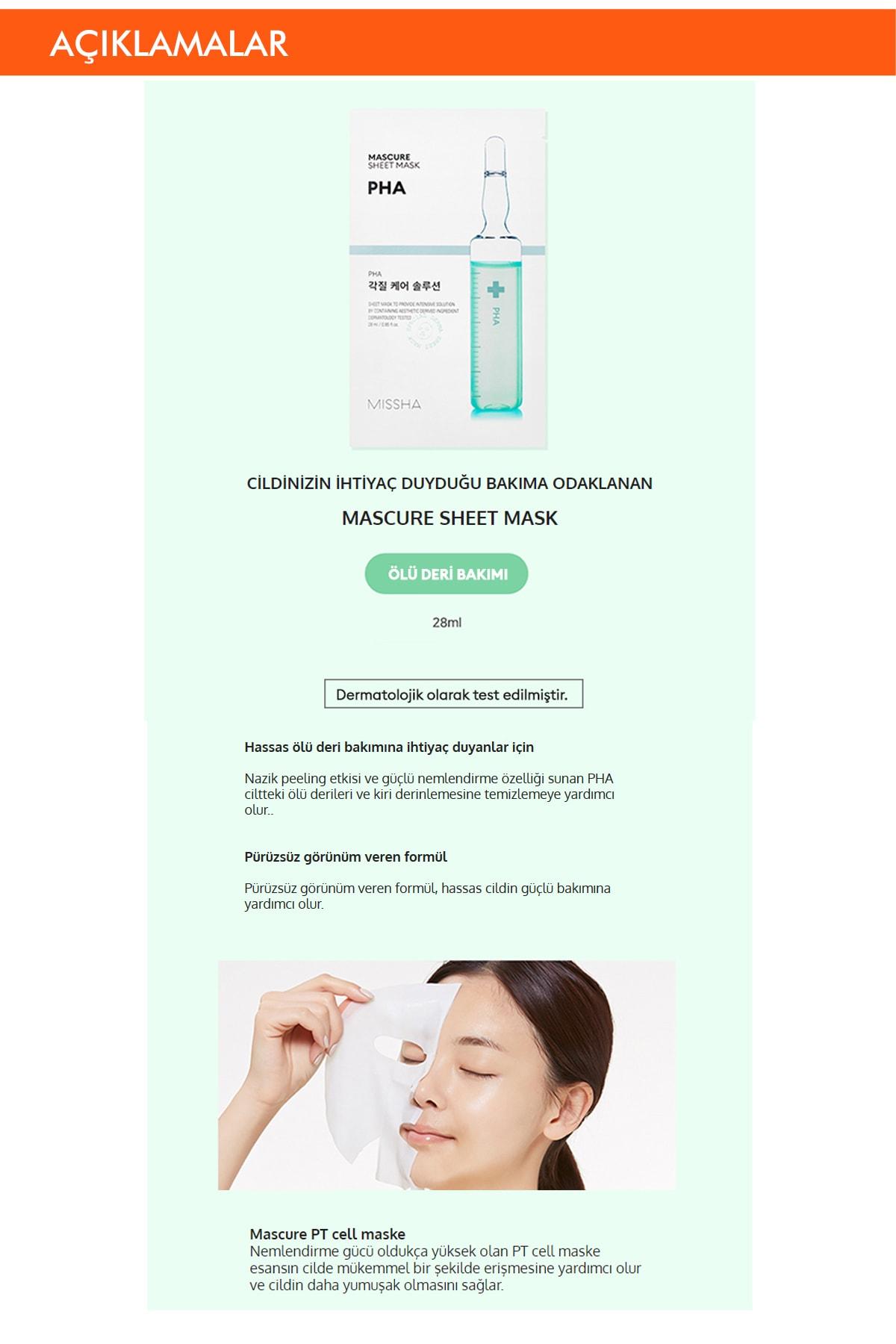 Missha Pha Ölü Deri Arındırıcı Yaprak Maske (1ad) Mascure Peeling Solution Sheet Mask 1