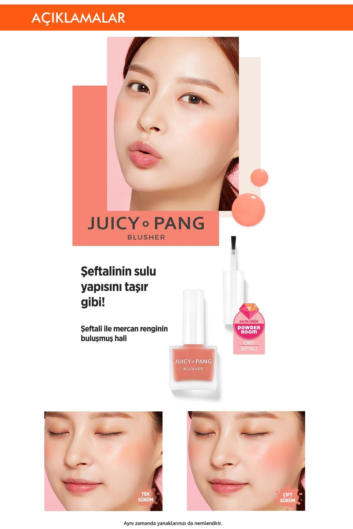 Missha Doğal Görünüm Sunan Nemlendirici Likit Allık 9g. APIEU Juicy-Pang Water Blusher (CR01) 2