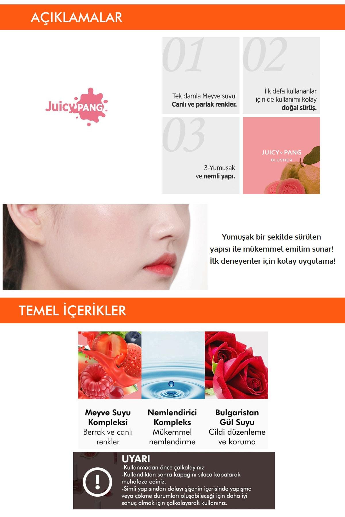 Missha Doğal Görünüm Sunan Nemlendirici Likit Allık 9g. APIEU Juicy-Pang Water Blusher (PK03) 3
