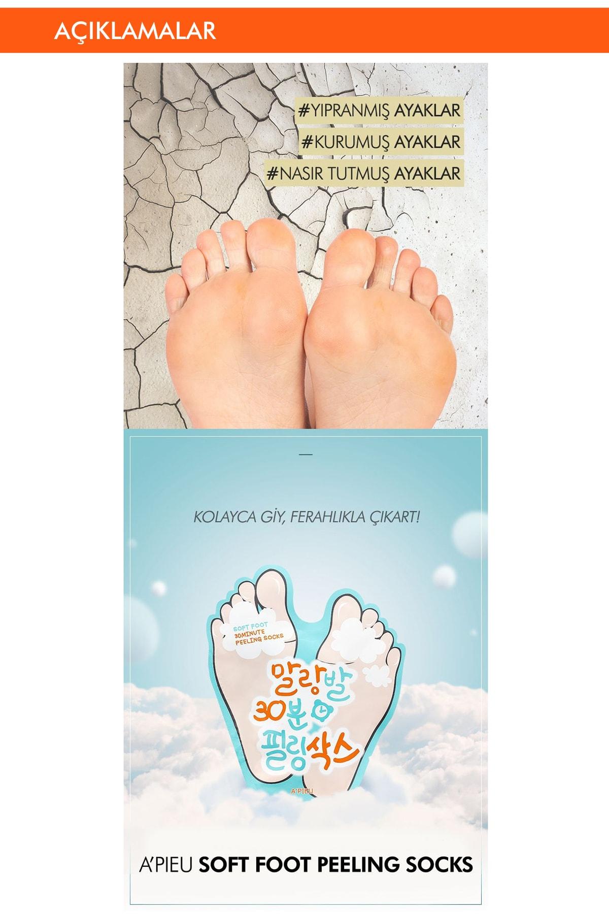 Missha Ölü Derilerden Arındıran Ayak Maskesi 40ml APIEU Soft Foot Peeling Socks 1