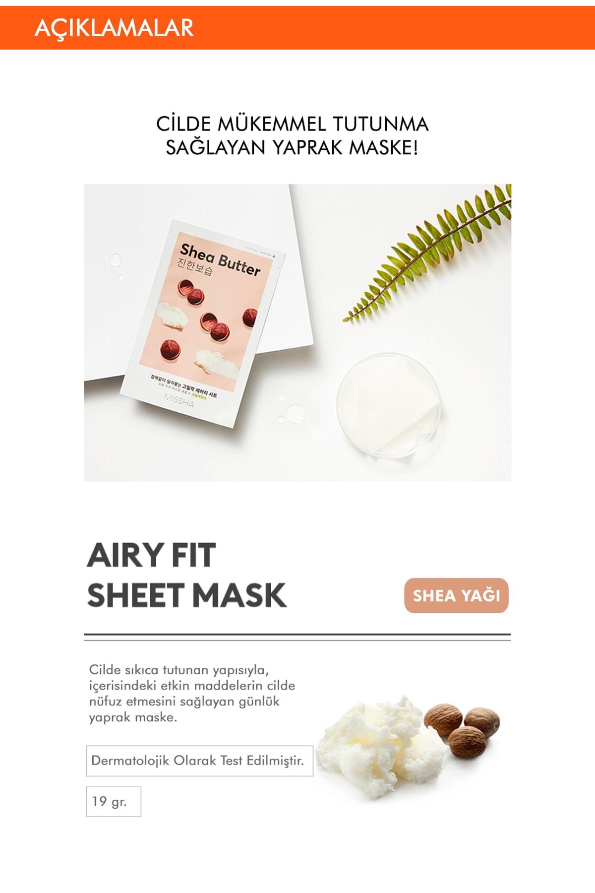 Missha Shea Yağı Besleyici ve Yoğun Nemlendirici Yaprak Maske (1ad) Airy Fit Sheet Mask Shea Butter 1
