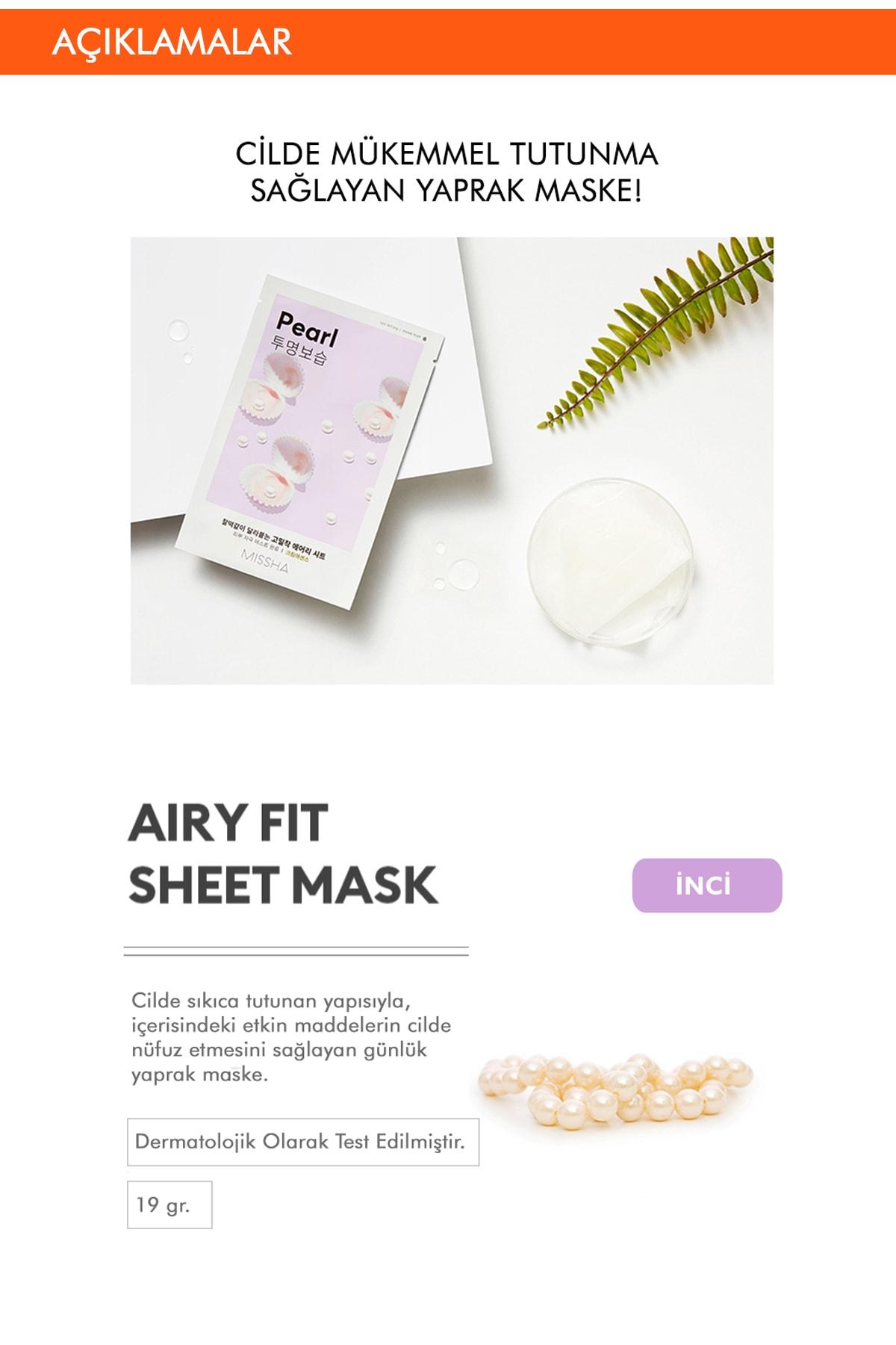 Missha İnci Özlü Aydınlatıcı ve Nemlendirici Yaprak Maske (1ad) Airy Fit Sheet Mask Pearl 1