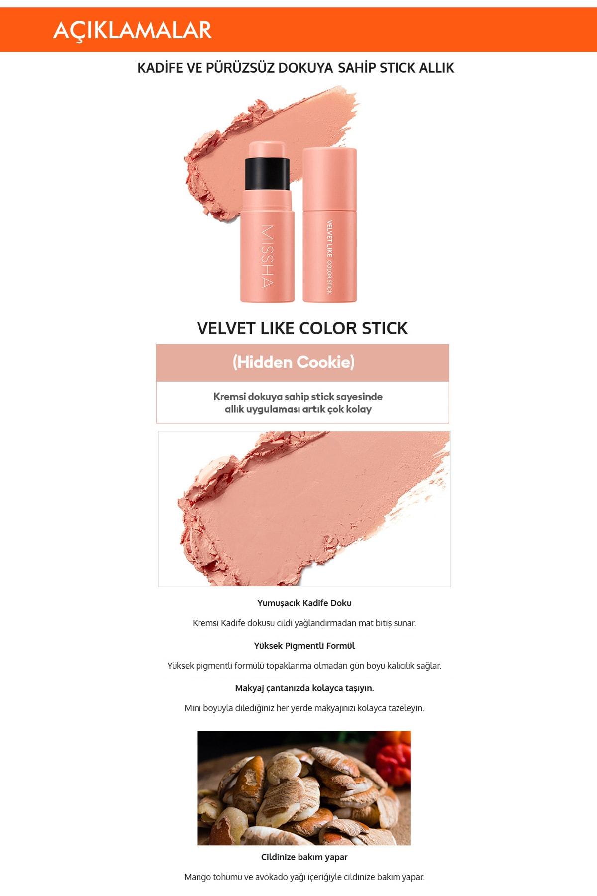 Missha Kadife Dokulu Kalıcı Stick Allık Velvet Like Color Stick (Hidden Cookie) 1