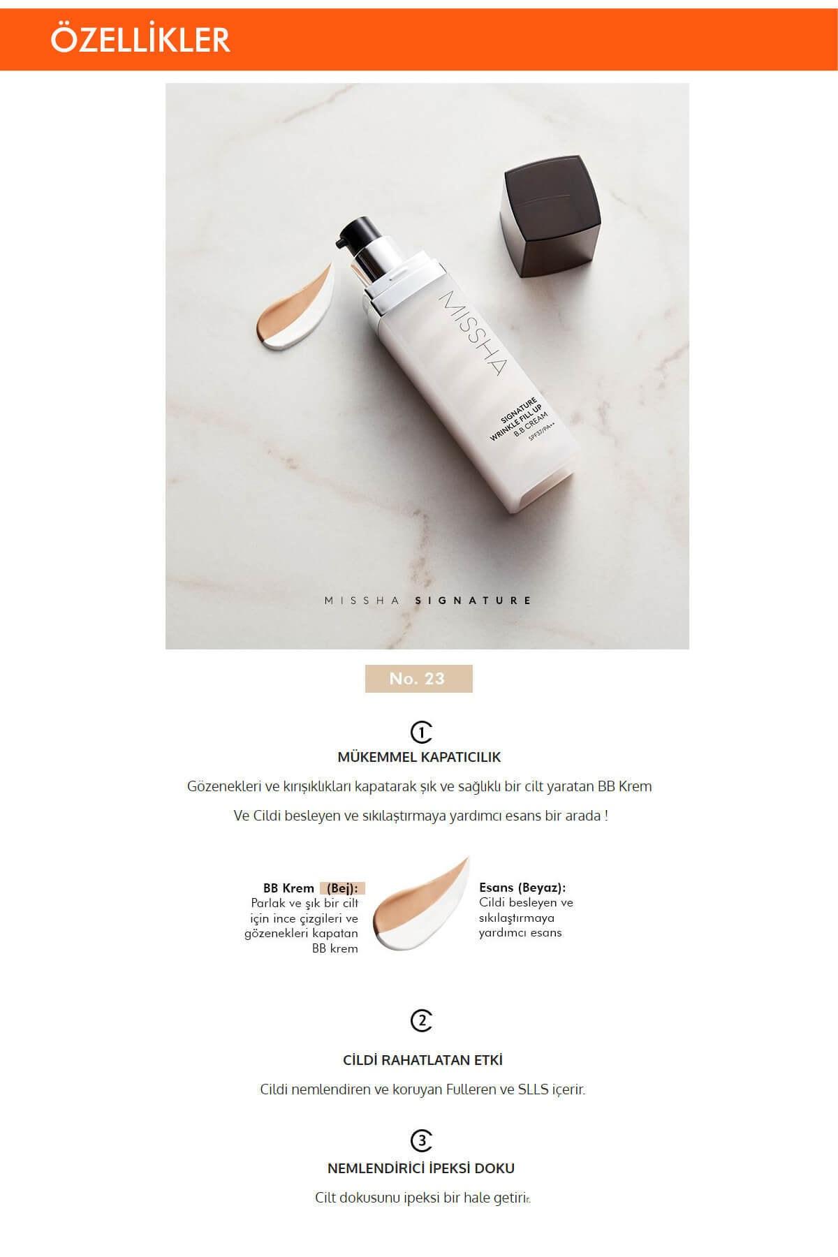 Missha Gözenekleri ve İnce Çizgileri Kapatan BB Krem 44g Signature Wrinkle Fill-up BB Cream SPF37PA++No.21 1