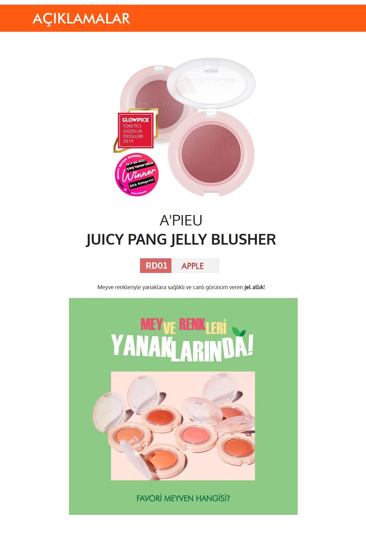 Missha Meyve Tonlarında Doğal Görünümlü Jel Allık APIEU Juicy-Pang Jelly Blusher (RD01) 1