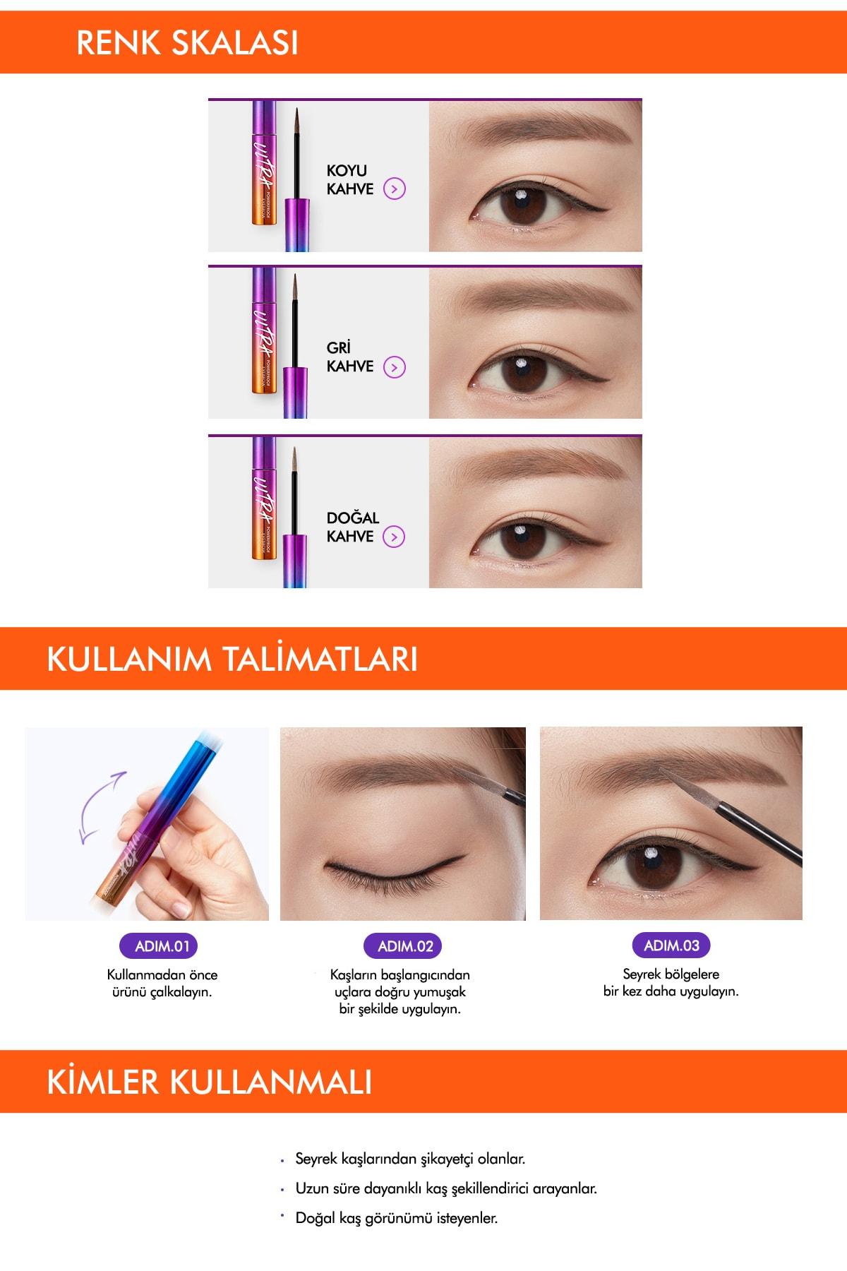 Missha Kalıcı Likit Kaş Şekillendirici Ultra Powerproof Eyebrow Liquid [Gray Brown] 3