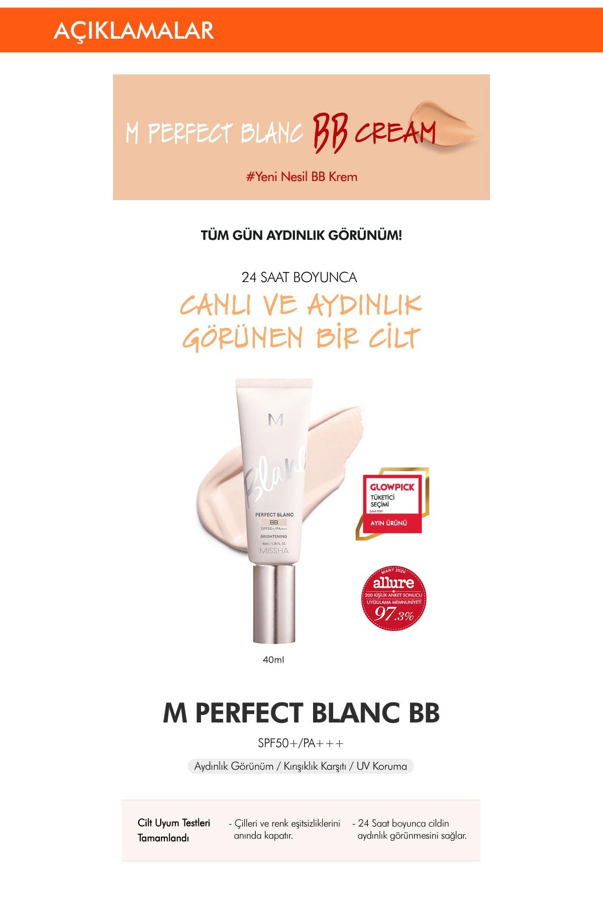 Missha Aydınlatıcı&Ton Eşitleyici BB Krem 40ml SPF50+ MISSHA M Perfect Blanc BB (Rosy / No.19) 1