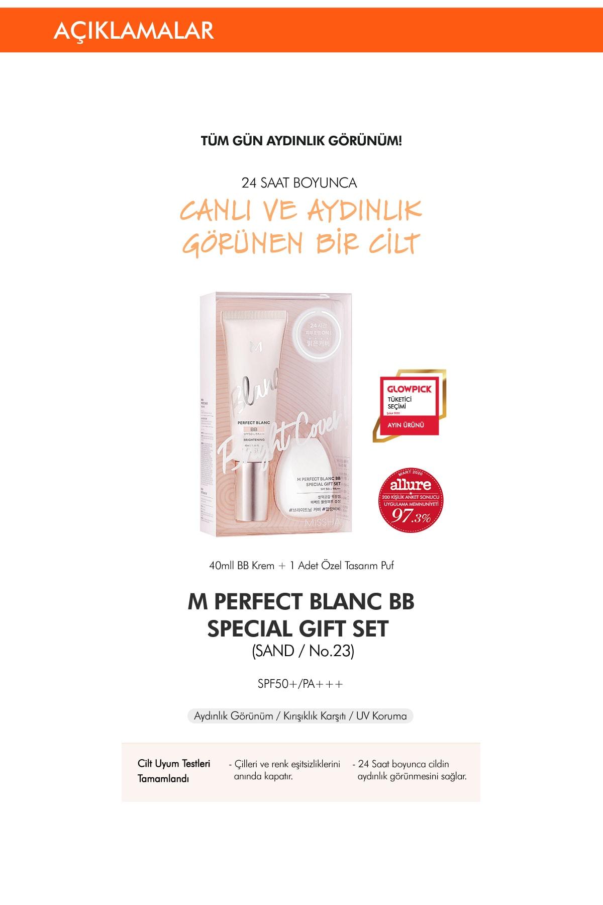 Missha Ton Eşitleyen Aydınlatıcı BB Krem Seti 40ml+1pcs M Perfect Blanc BB Special Gift Set (Vanilla/No.23) 1