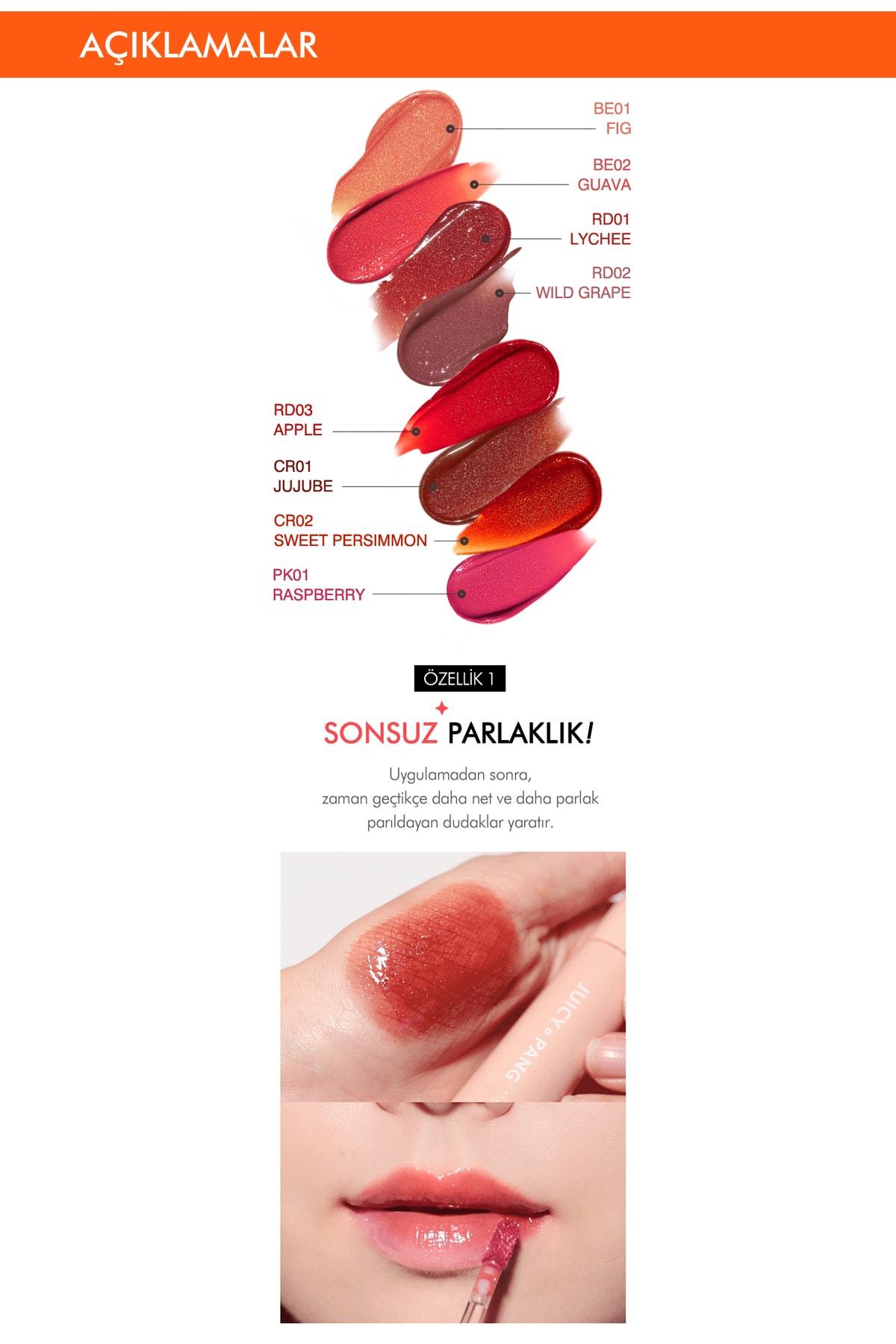 Missha Işıltı&Dolgunluk Veren Parlak Gloss Tint APIEU Juicy-Pang Sparkling Tint CR02 3