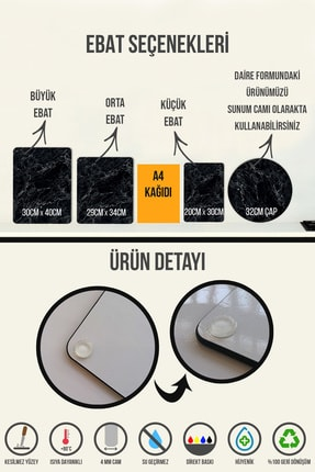 Decorita Mutfak Kuralları - Kara Tahta Görünümlü | Cam Kesme Tahtası - Cam Kesme Tablası | 30cm X 40cm 3