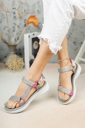 meyra'nın ayakkabıları Gri Cırtlı Sandalet 1
