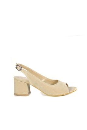 Kadın Arkası Acık Topuklu Ayakkabı Bh - Suet - Ten - 36 AKG T-461S