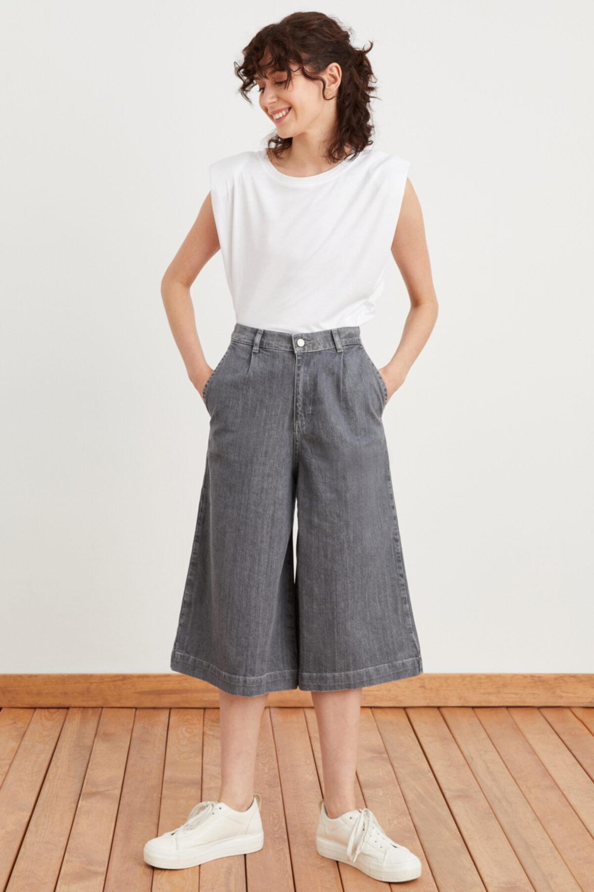 Kadın Gri Beli Lastikli Bol Paça Pantolon