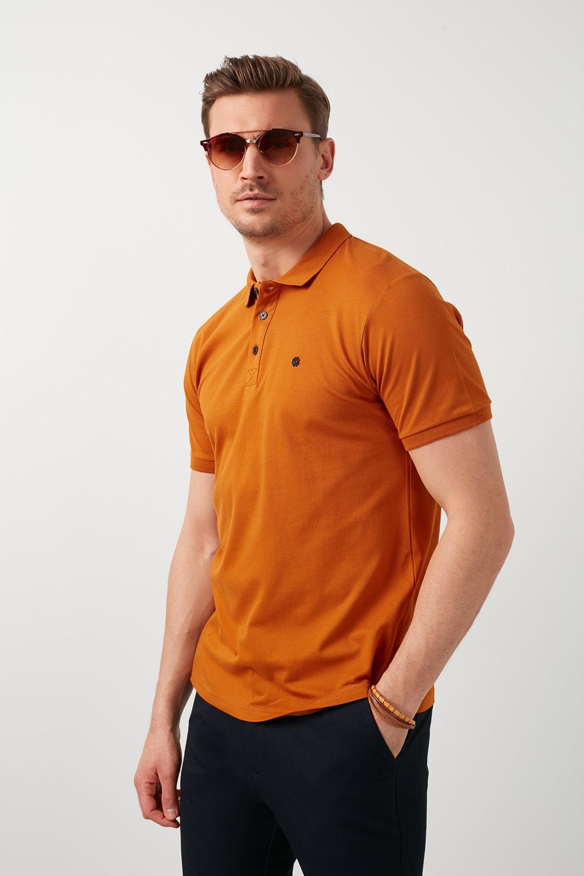 Erkek Taba Kısa Kol Düğmeli Polo Yaka T-Shirt