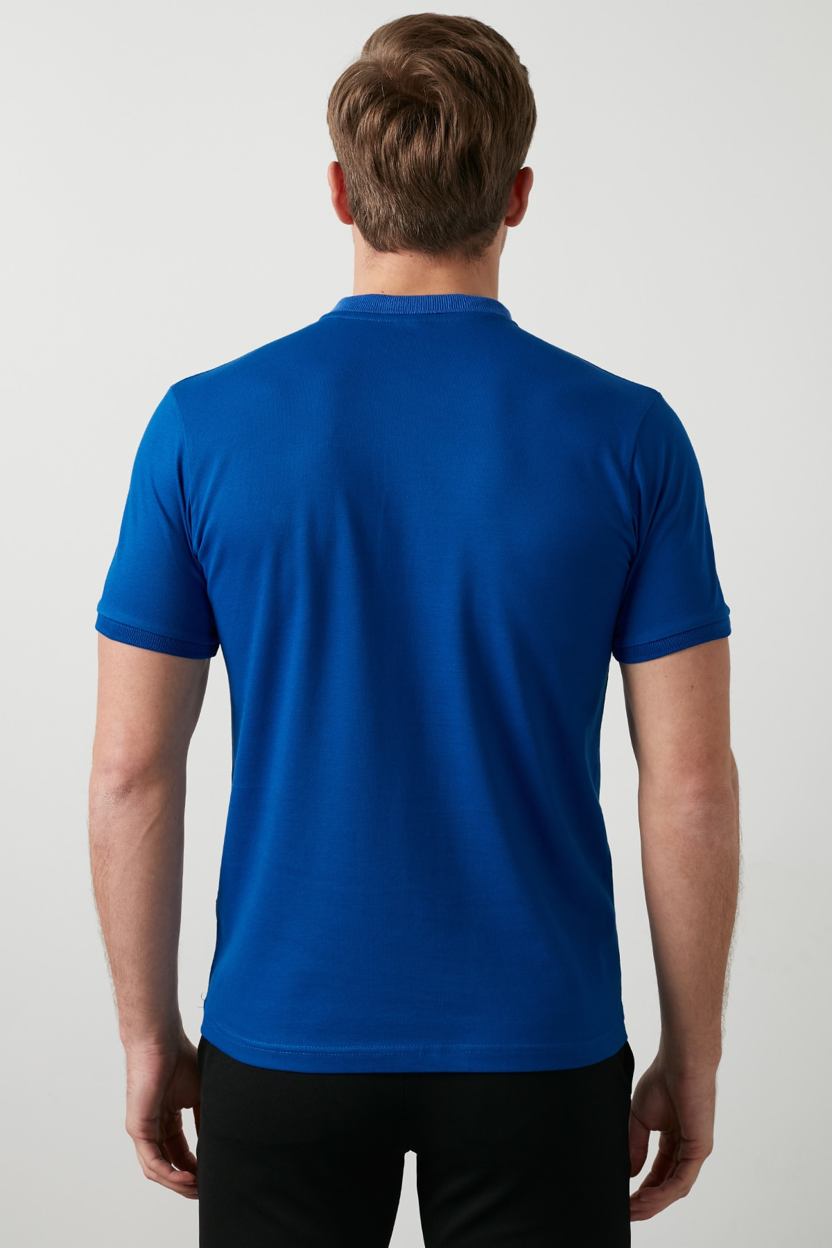 Buratti Erkek Parlıament Mavisi Düğmeli Polo Yaka Standart Fit Pamuklu T Shirt 0438101 3