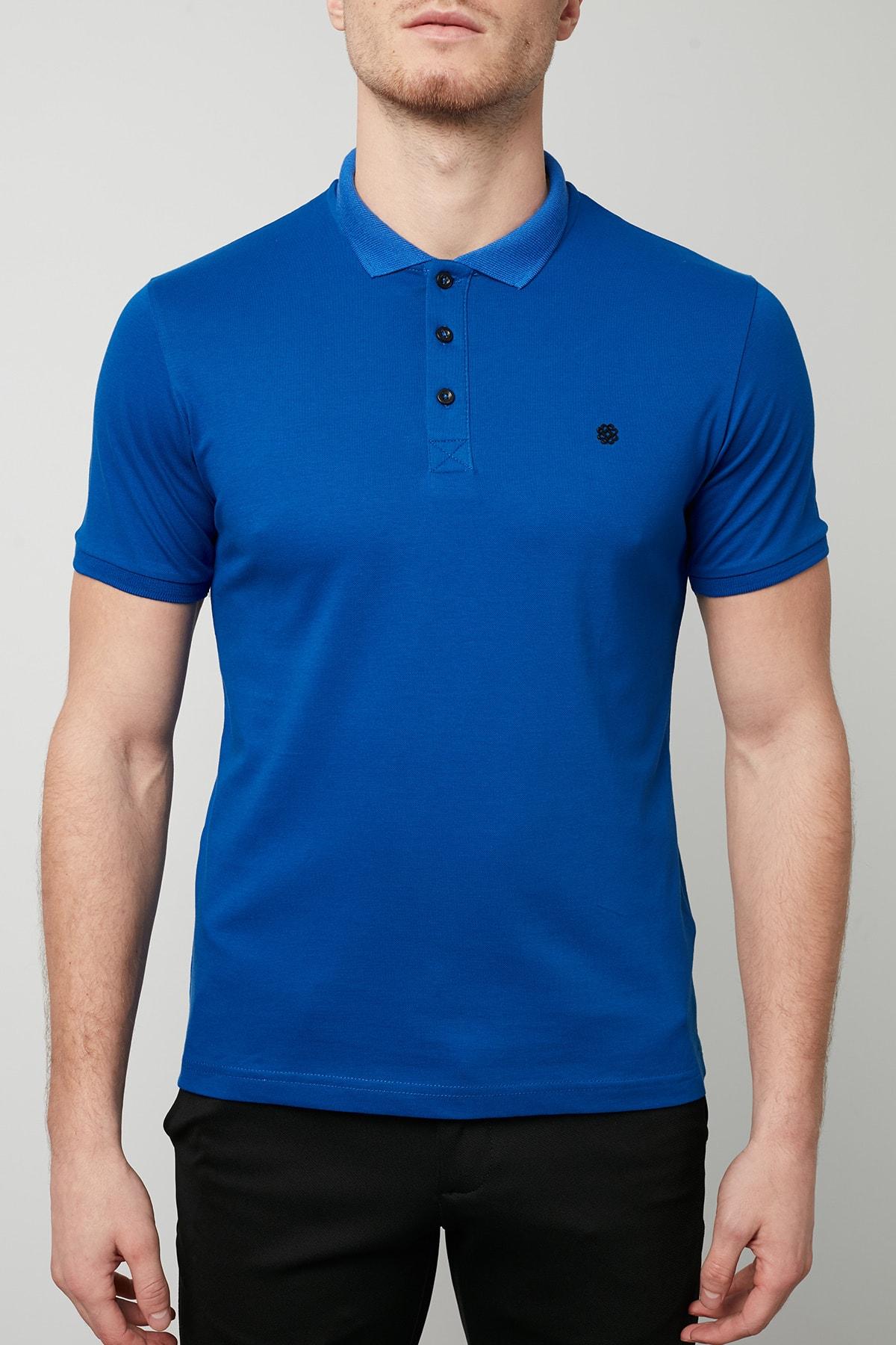 Buratti Erkek Parlıament Mavisi Düğmeli Polo Yaka Standart Fit Pamuklu T Shirt 0438101 4