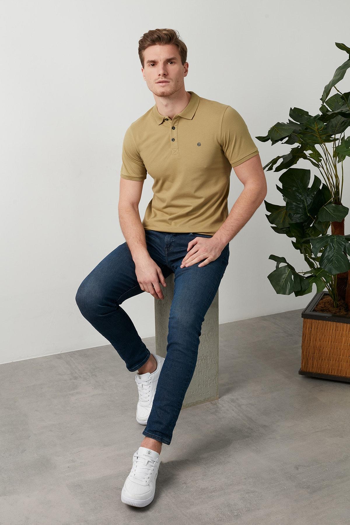 Erkek Açık Haki Düğmeli Polo Yaka Standart Fit Pamuklu T Shirt 0438101