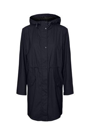 Vero Moda Kadın Siyah Kapüşonlu Büzgülü Yağmurluk 0