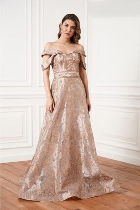 Kadın Altın Abiye Elbise 5286