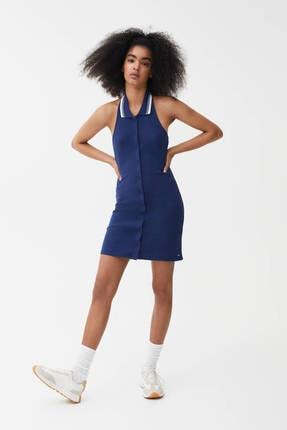 Pull & Bear Kadın Lacivert Fitilli Yaka Polo Elbise 1