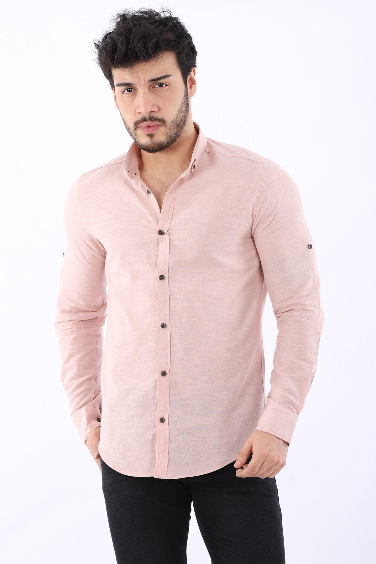 Erkek Keten Düğmeli Ayarlanabilir Uzun Kollu Pudra Gömlek