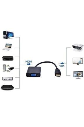BadaTrend Hdmı To Vga Adaptör Projeksiyon Uyumlu Dijital - Analog Monitör Çevirici Dönüştürücü Ses Destekli 1