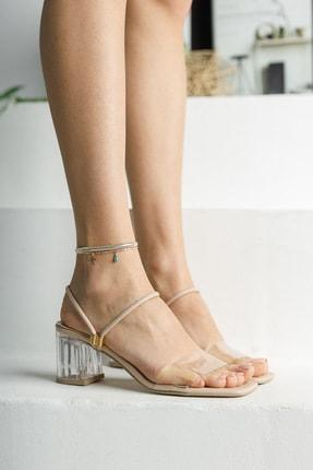 meyra'nın ayakkabıları Kadın Krem Şeffaf Topuklu Ayakkabı 2