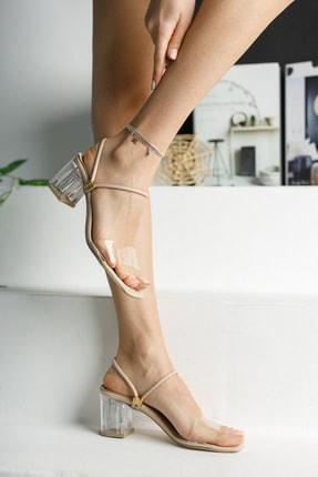 meyra'nın ayakkabıları Kadın Krem Şeffaf Topuklu Ayakkabı 3