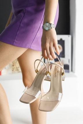 meyra'nın ayakkabıları Kadın Krem Şeffaf Topuklu Ayakkabı 4