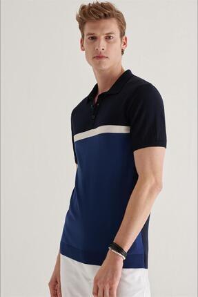 Avva Erkek Lacivert Polo Yarım Düğmeli Yaka Çizgili Kısa Kol Kazak A11y5026 3