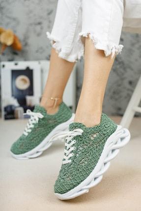 meyra'nın ayakkabıları Kadın  Yeşil Dantelli Spor Ayakkabı 1