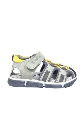 Toddler 2906-1 Ortopedik Hakiki Deri Erkek Çocuk Gri Sandalet 0