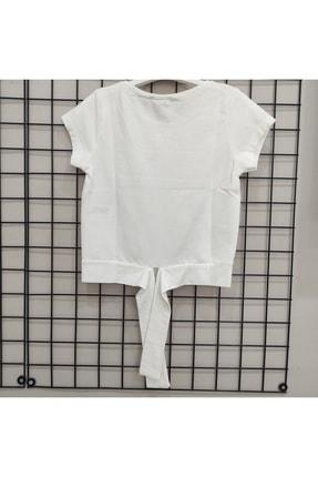 NK Kız Çocuk Ekru Turuncu Taşlı Bağlamalı T-Shirt 2