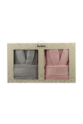 Özdilek Camellia Happy Aile Seti Bornoz Takımı Gri - Pembe 1