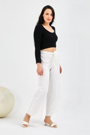 Gentekstil Kadın Beyaz Bel Lastikli Rahat Kesim Pantolon 0