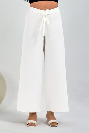 Gentekstil Kadın Beyaz Bel Lastikli Rahat Kesim Pantolon 2