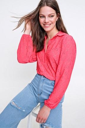 Trend Alaçatı Stili Kadın Mercan Fisto Örme Prenses Kol Gömlek ALC-X6259 0