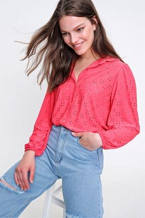 Trend Alaçatı Stili Kadın Mercan Fisto Örme Prenses Kol Gömlek ALC-X6259 2
