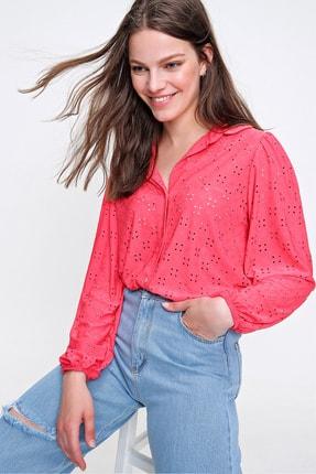 Trend Alaçatı Stili Kadın Mercan Fisto Örme Prenses Kol Gömlek ALC-X6259 3