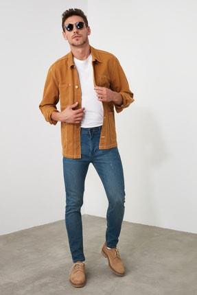 TRENDYOL MAN Indigo Erkek Tırmık Destroylu Tapared Skinny  Jeans TMNAW21JE0168 0