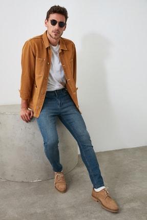 TRENDYOL MAN Indigo Erkek Tırmık Destroylu Tapared Skinny  Jeans TMNAW21JE0168 1
