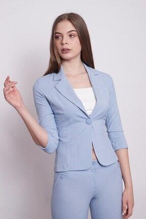 Jument Desenli Duble Kol Kısa Blazer Kumaş Ceket-mavi 1