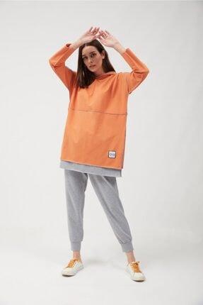 oia Kadın Oranj Renk Pamuklu Tunik Sweatshirt 1