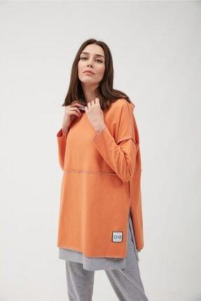 oia Kadın Oranj Renk Pamuklu Tunik Sweatshirt 3