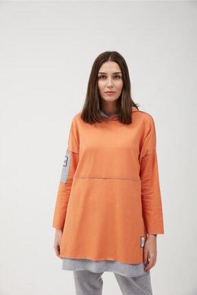 oia Kadın Oranj Renk Pamuklu Tunik Sweatshirt 4