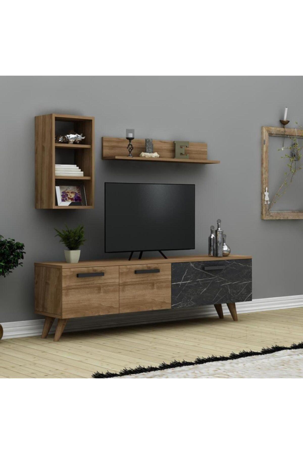 Roma Tv Ünitesi - Ceviz- Siyah Mermer,tv Sehpası